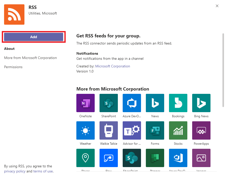 Microsoft Teams RSS Connector with Description highlighted and Add button circled