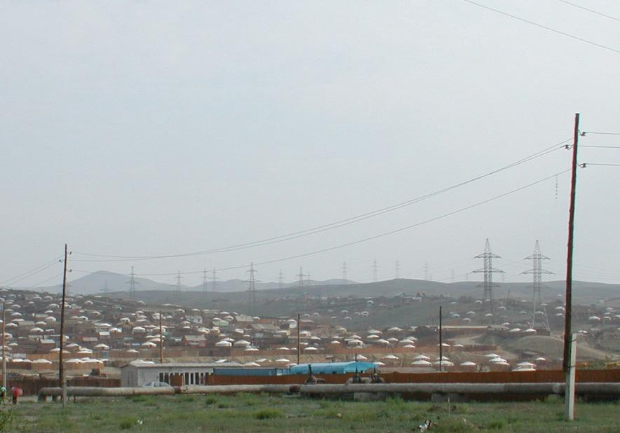 Hundreds of gers in a ger district in Ulaanbaatar