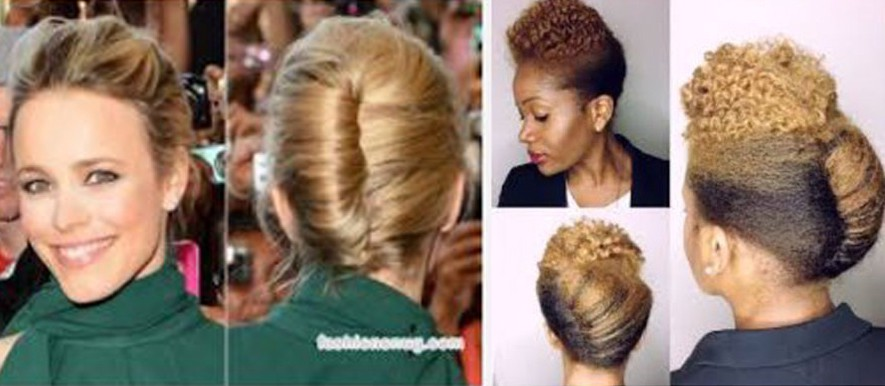 Side by side example of Bias in hairstyles, left side—a white woman, right side—a black woman with the same hairstyle.
