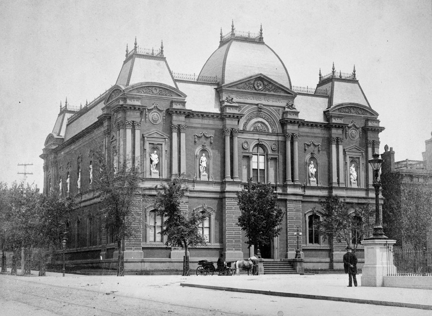 Black and white photograph of the Renwick Gallery building.
