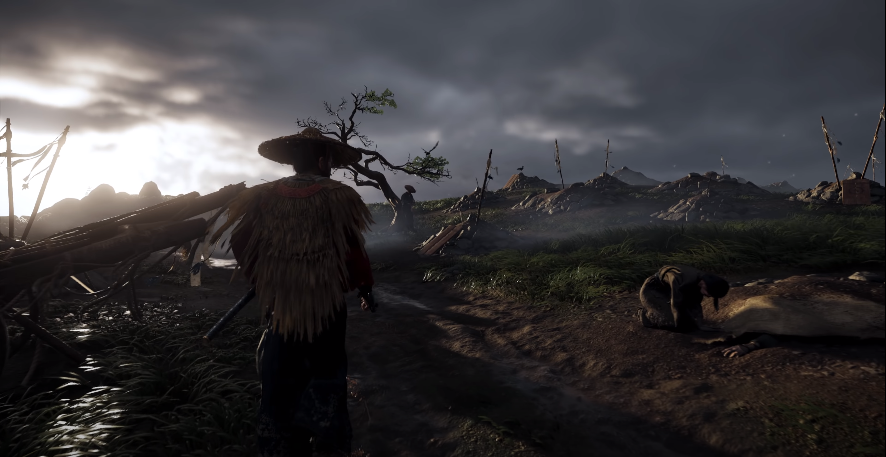 Ghost of Tsushima: Jin walking about grieving woman
