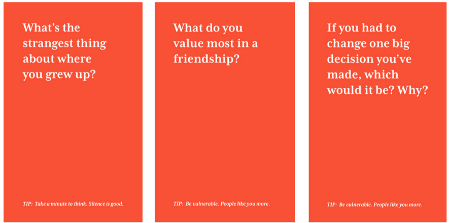 A set of three cards asks questions about growing up, friendship, and life decisions.