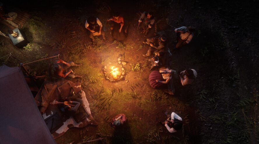 overhead shot of the Van der Linde gang sitting around the campfire at the Shady Bell hideout