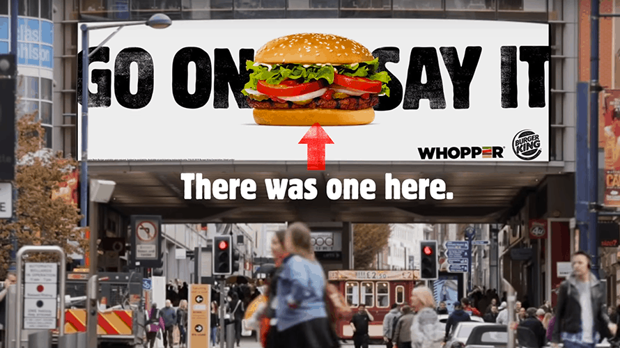 Burger King adverisement aluding there was a Big Mac behind their Whopper burger