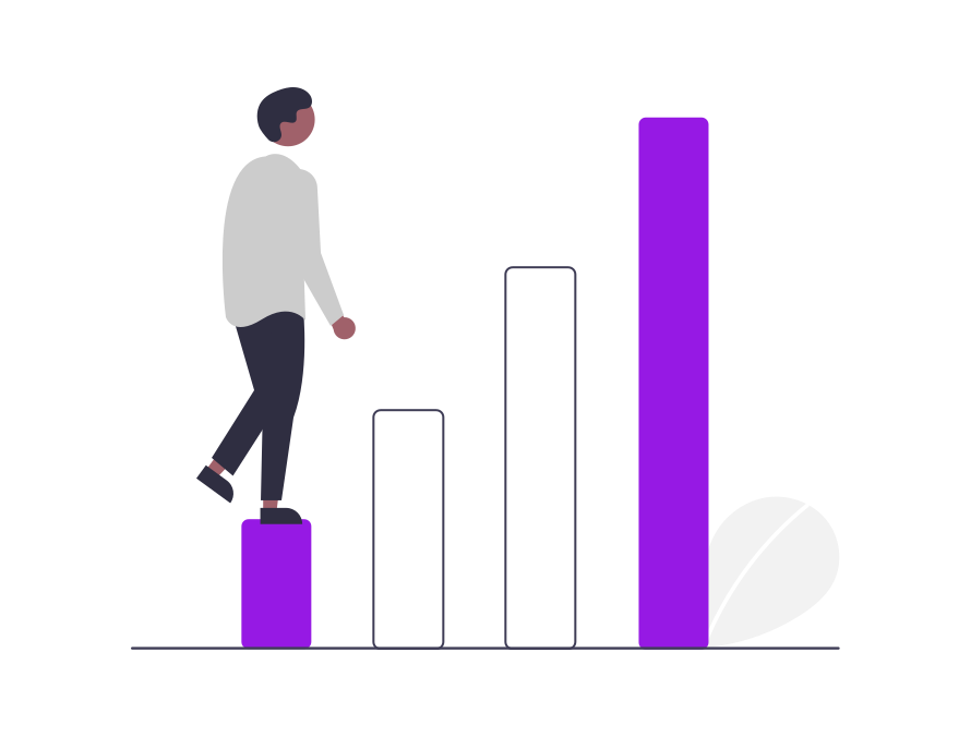 Illustration of a person stepping up a bar chart.