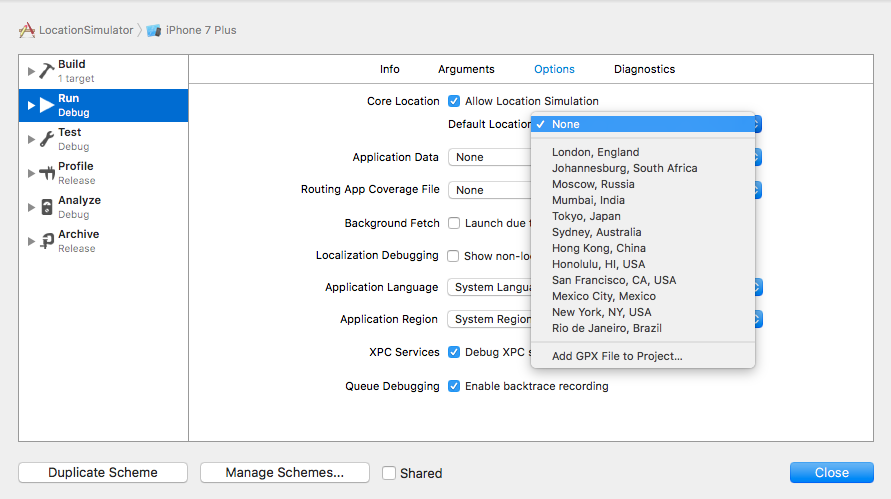 Location simulation in xcode - Abhimuralidharan - Medium