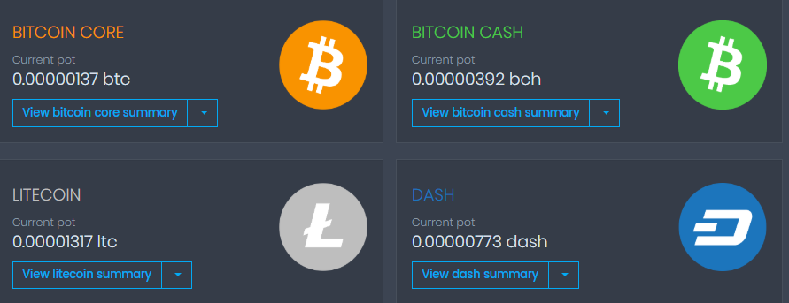 Coinpot dashboard after withdrawals to Coinbase initiated