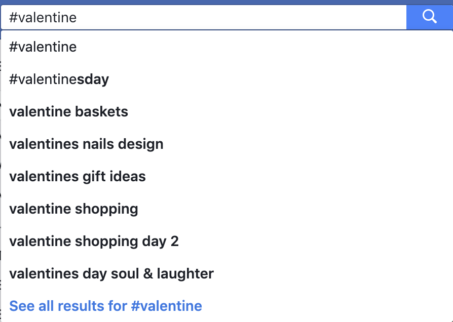 Picture of Facebook hash tag search for valentine