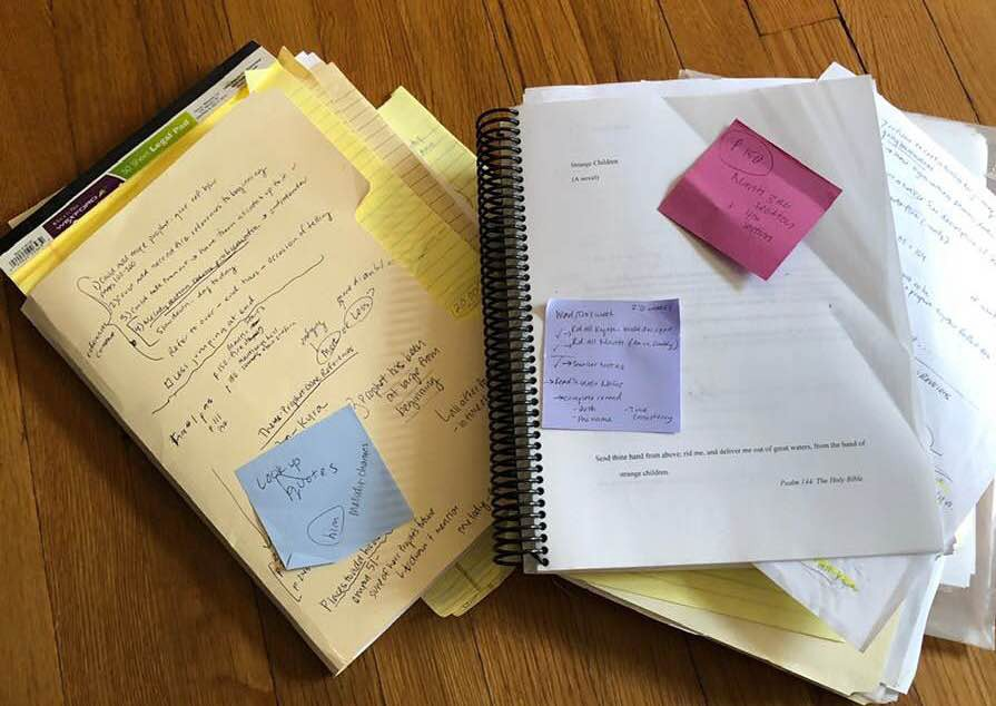 The notes and drafts of my novel, Strange Children