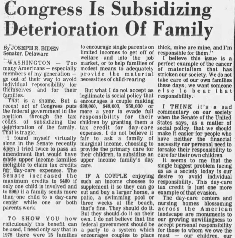 Biden's misogynistic attack against the federal daycare tax credit in The Daily Times (1981).