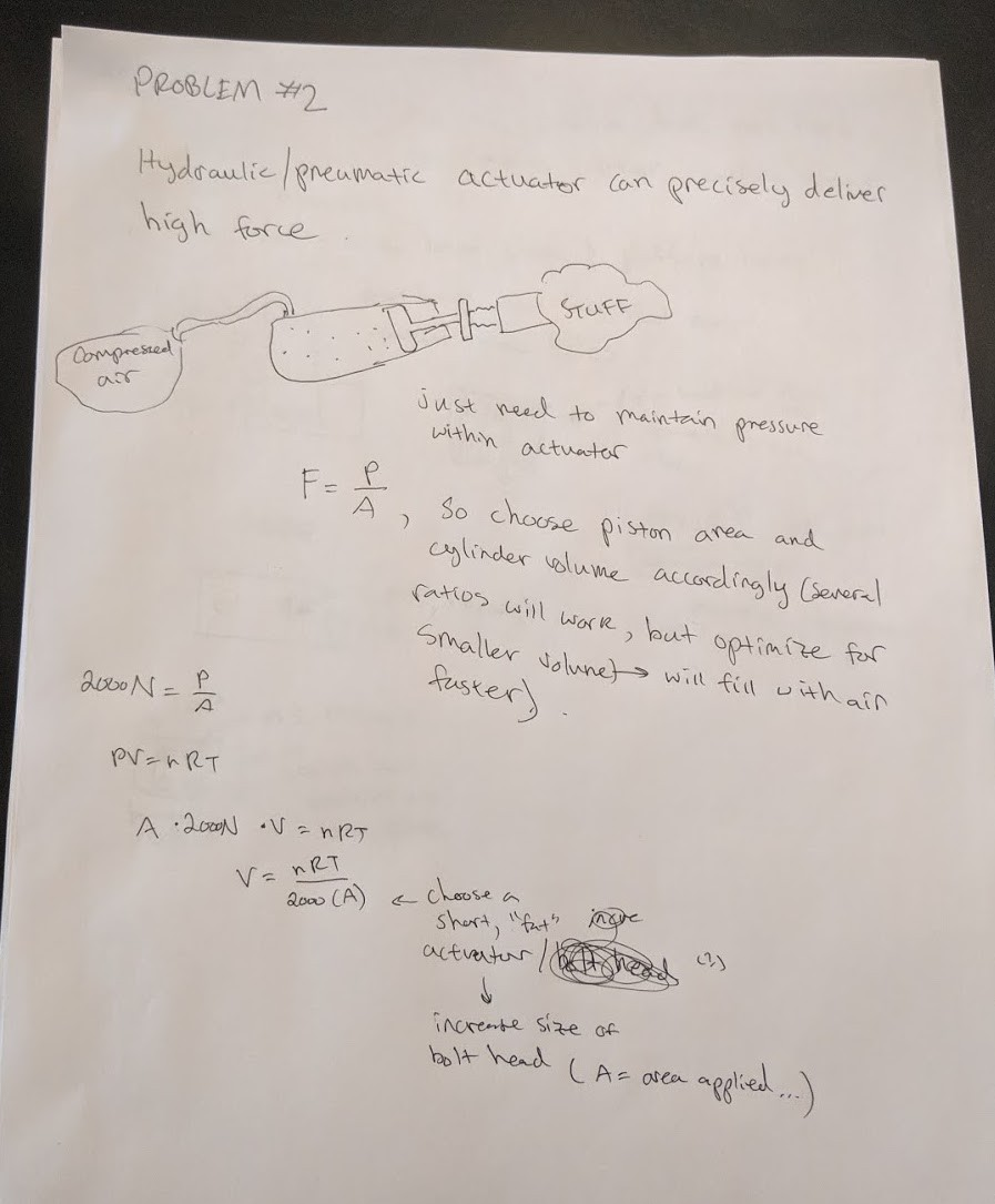 A picture of a written solution to a homework problem about hydraulic actuators