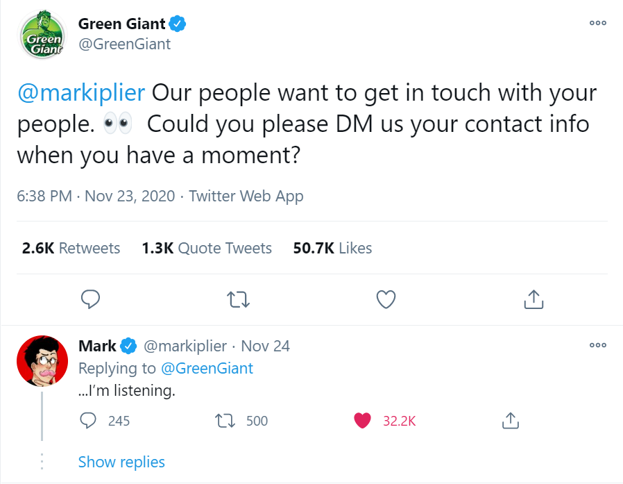 "Green Giant tweets to Mark asking him to DM them his contact information. Mark replies, ""I'm listening."""