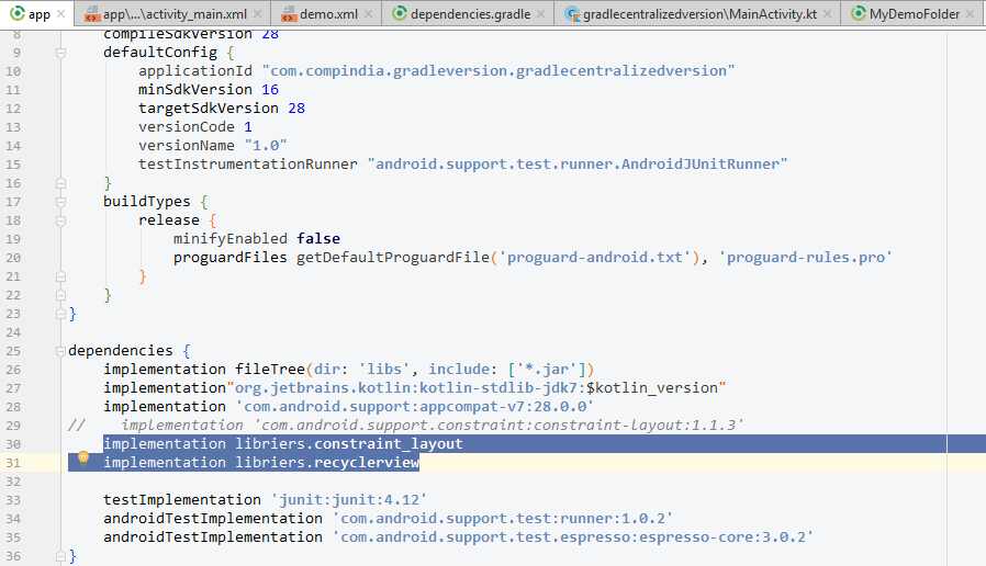 Centralize the support libraries dependencies in gradle