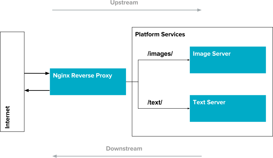 An example edge service: Nginx as a reverse proxy for two resource servers. Requests for images are routed to one server, while requests for text are routed to another.