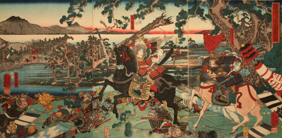 The Battle of Awazu, the last recorded battle of Tomoe Gozen and Yoshinaka.
