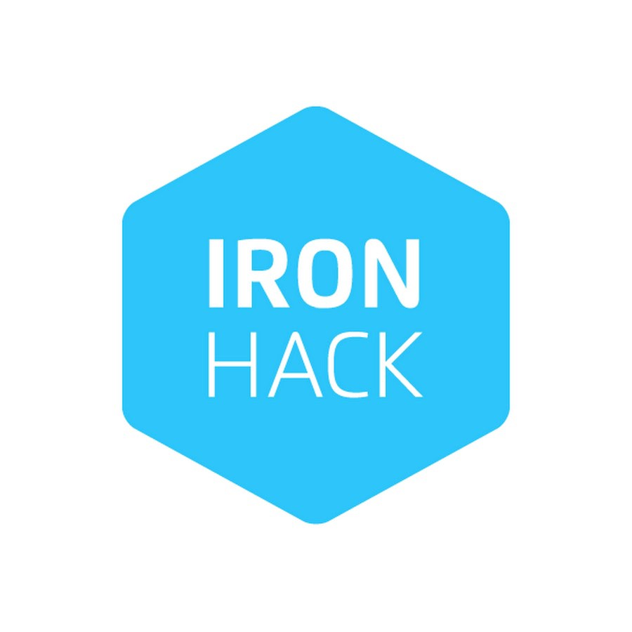 a blue hexagon with white text. Text says IRON HACK.