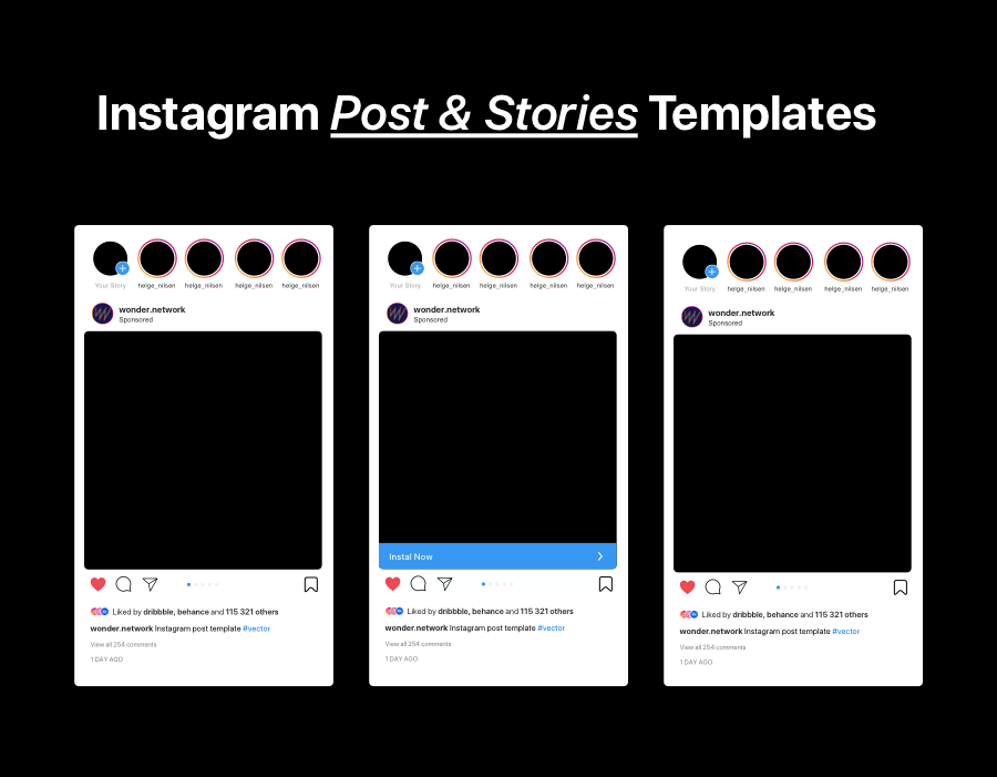 Instagram Mockup Post Template with Stories