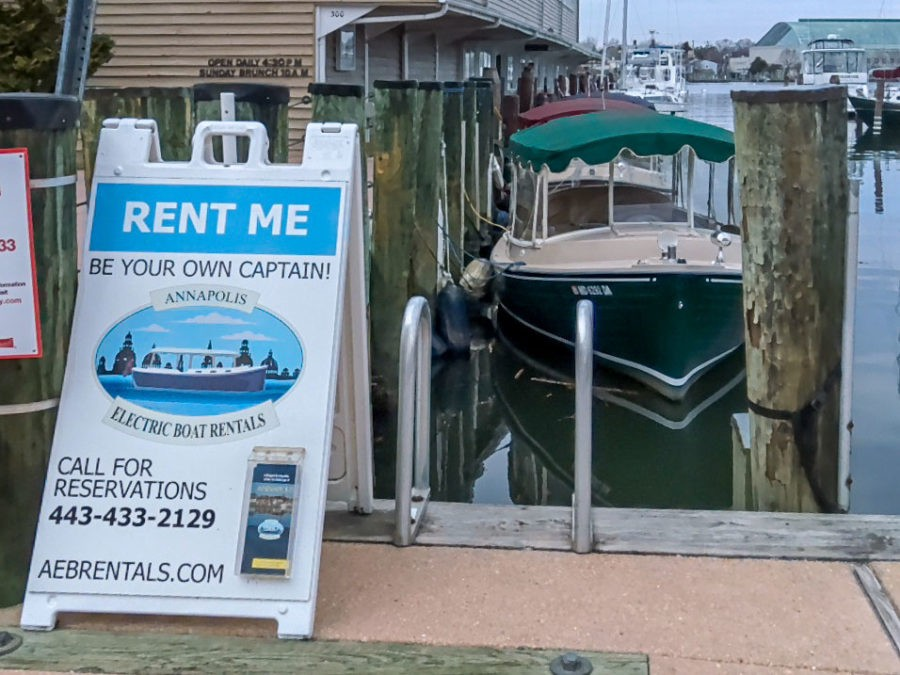 Annapolis Electric Boat Rentals tied up and ready to go