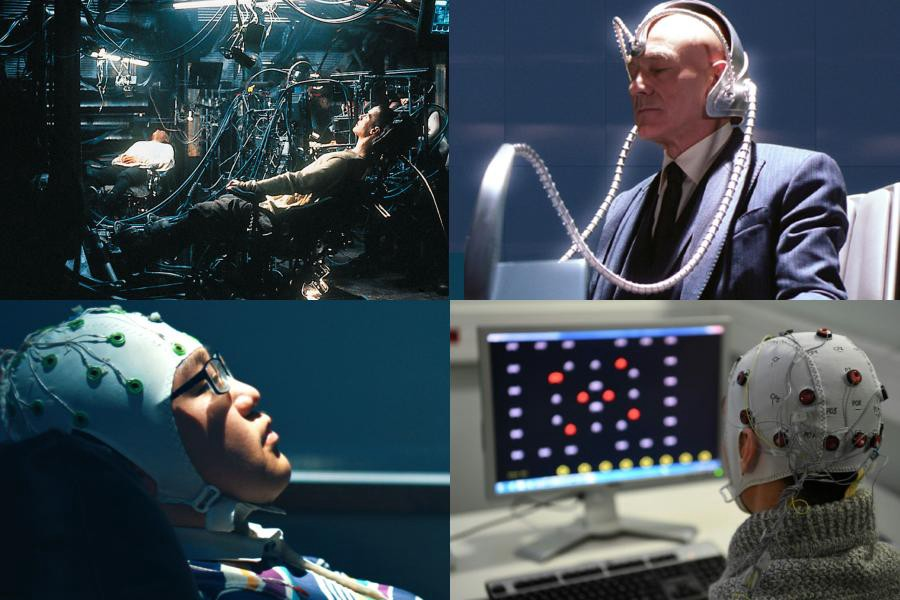 Scenes from The Matrix and X-Men juxtaposed with real-life brain-machine interfaces.