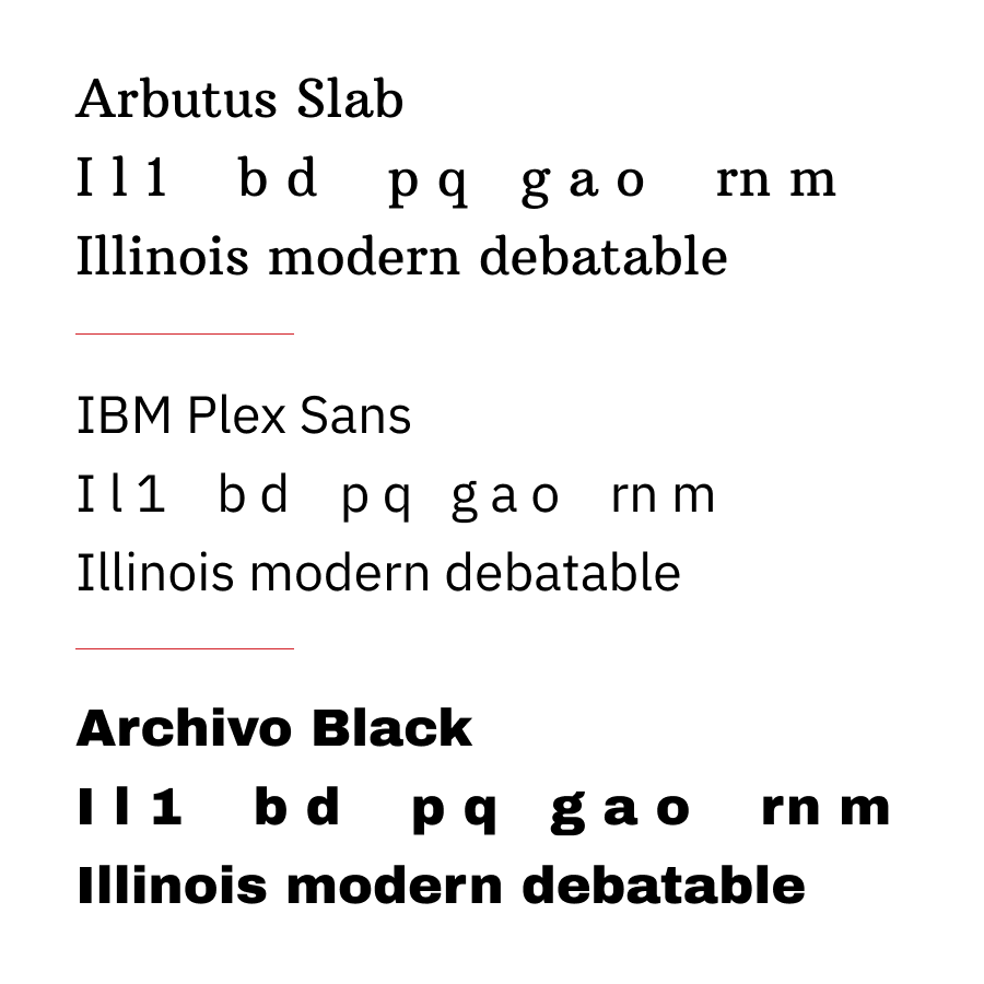 Graphic image comparing Arbutus Slab, IBM Plex Sans, and Archivo Black.