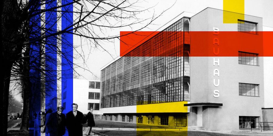 A black and white photo of the Bauhaus with stylized red, blue, and yellow overlays.