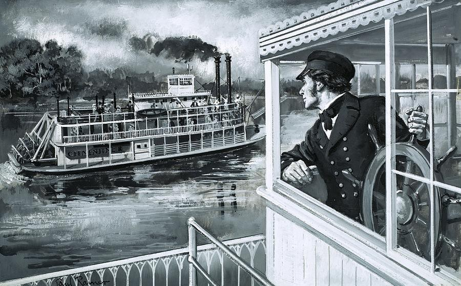 Steamboat captain on Mississippi