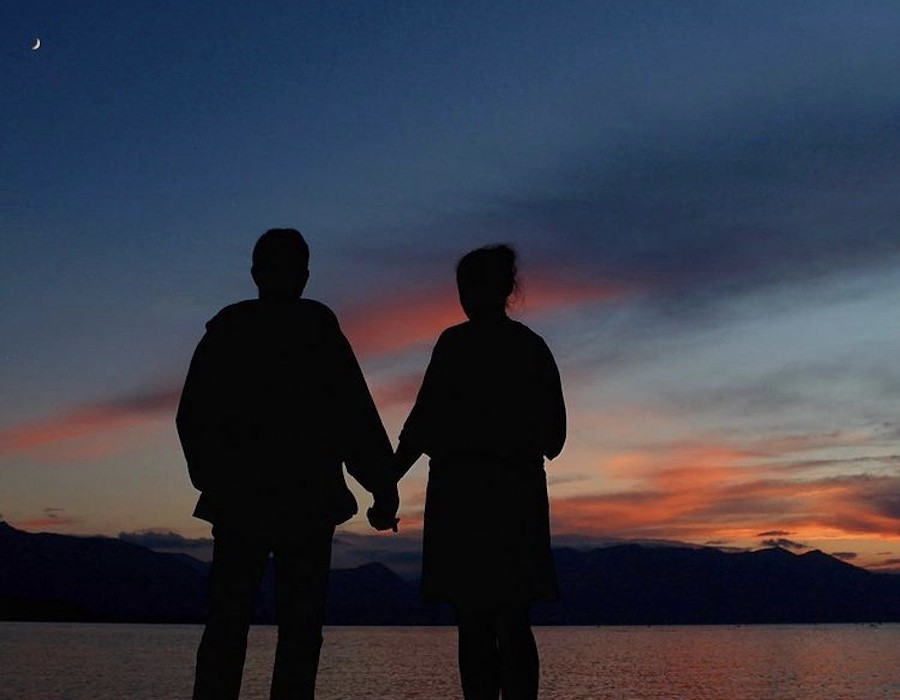 Larry and Nicole watching the sunset over Lake Tahoe