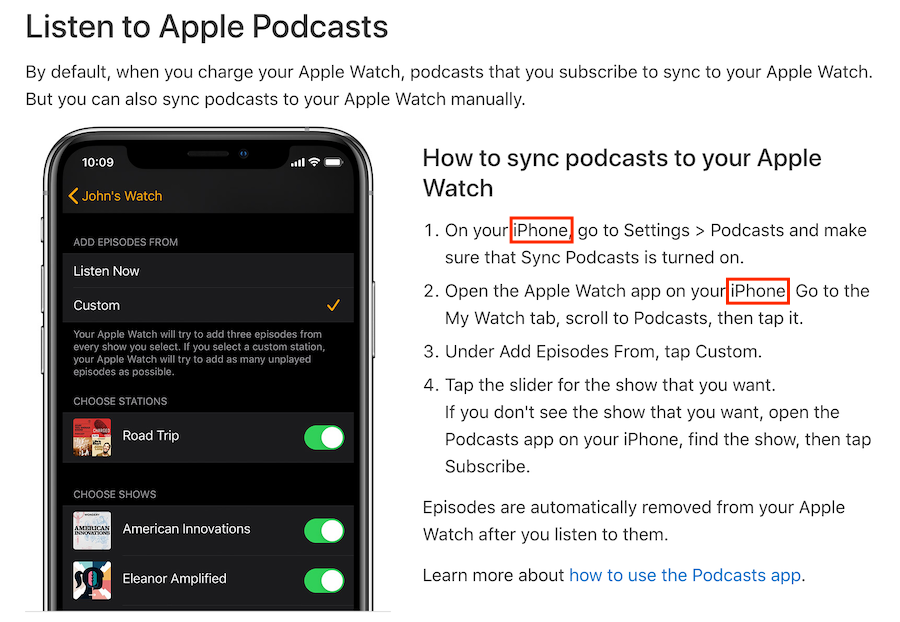 Screenshot of Apple Support article showing how to listen, and update (sync) podcasts on the Apple Watch. iPhone is required!