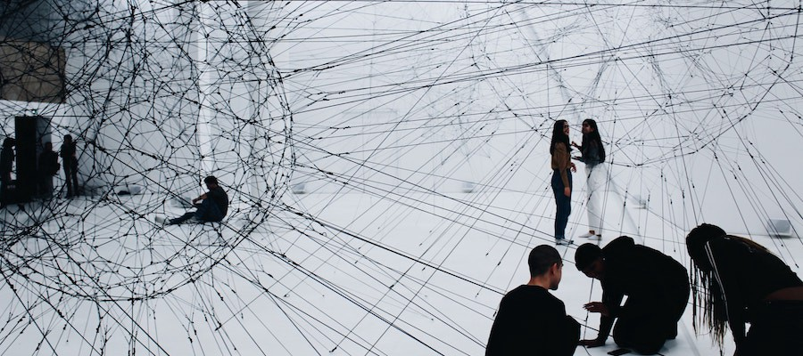 People in a network of strings