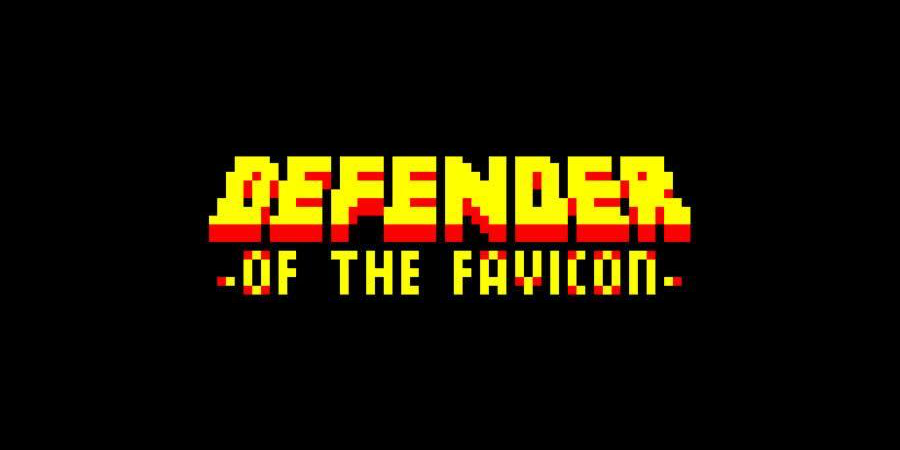 The Defender of the Favicon logo, stylized like a retro arcade game.