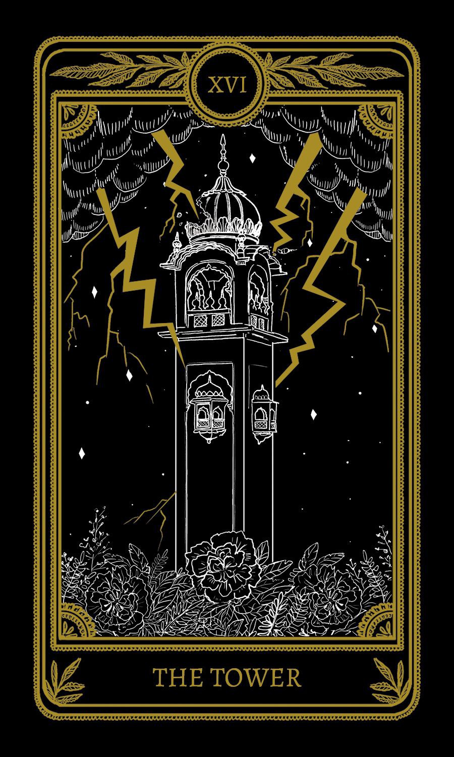 A tarot card depicting a tower that is crashing. Lighting striking it and there are flowers growing at its base.