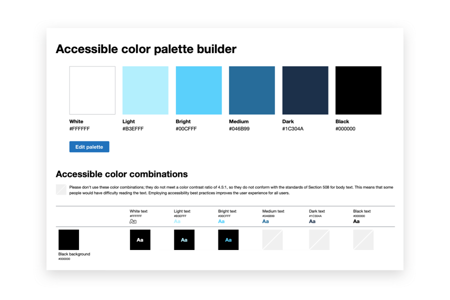 Screenshot of the Accessible Color Matrix web page
