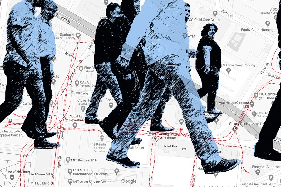 Images of pedestrians walking over a city map
