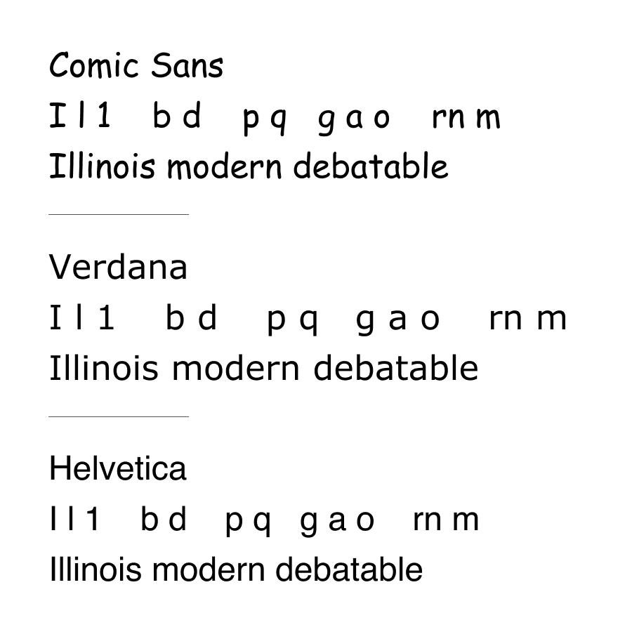 Graphic image comparing Comic Sans, Verdana, and Helvetica.