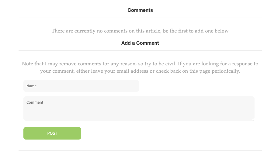 Comment Form Empty State