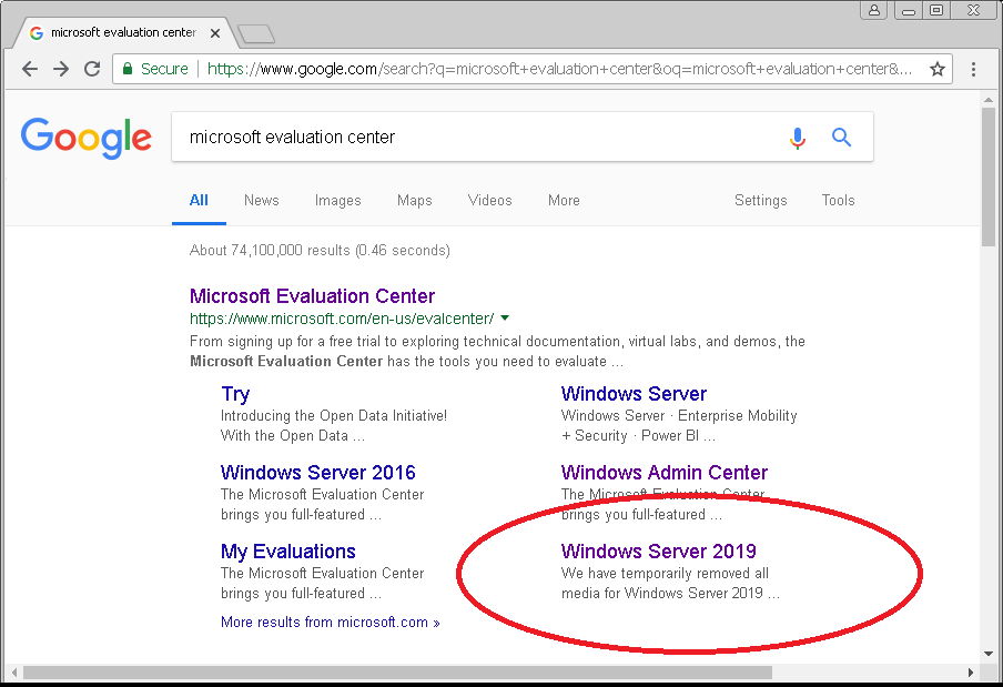 Direct Download Links — Windows Server 2019 General