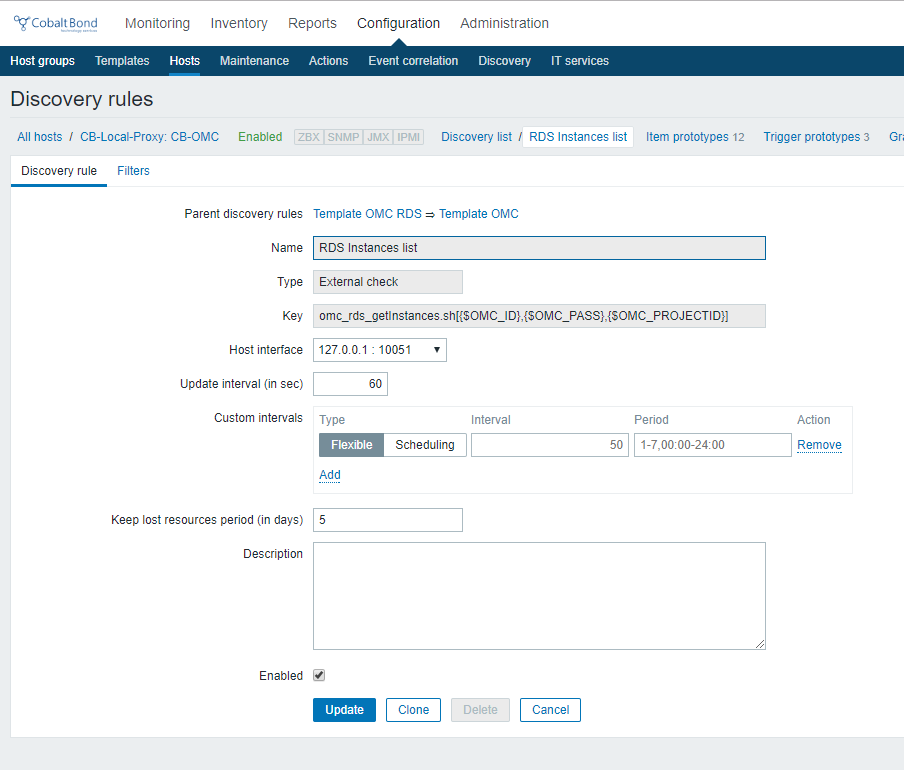 How to monitor OpenCloud RDS data bases from Zabbix