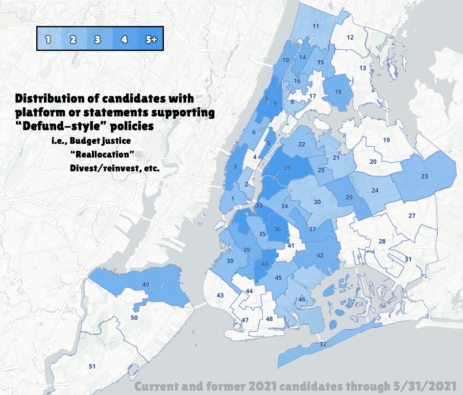 """A map of New York City's city council districts, with each district numbered. Text overlayed on the map says """"Distribution of candidates with platform or statements supporting """"Defund-style"""" policies i.e., budget justice, """"reallocation"""", divest/invest, etc. Districts are colored white or various shades of blue depending on number of candidates that in that district have Defund-style policies. Most of Manhattan, North/Central Brooklyn, and Western/Central Queens are shaded blue."""