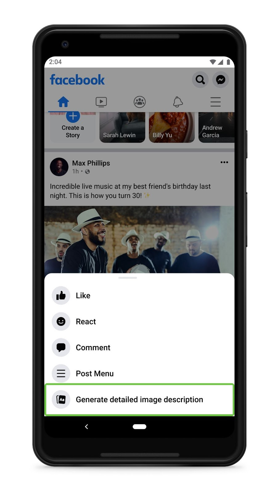 A cell phone screenshot of actions menu of a post, containing 5 items: like, react, comment, post menu, and generate detailed image description. The last item is highlighted by the screen reader cursor.