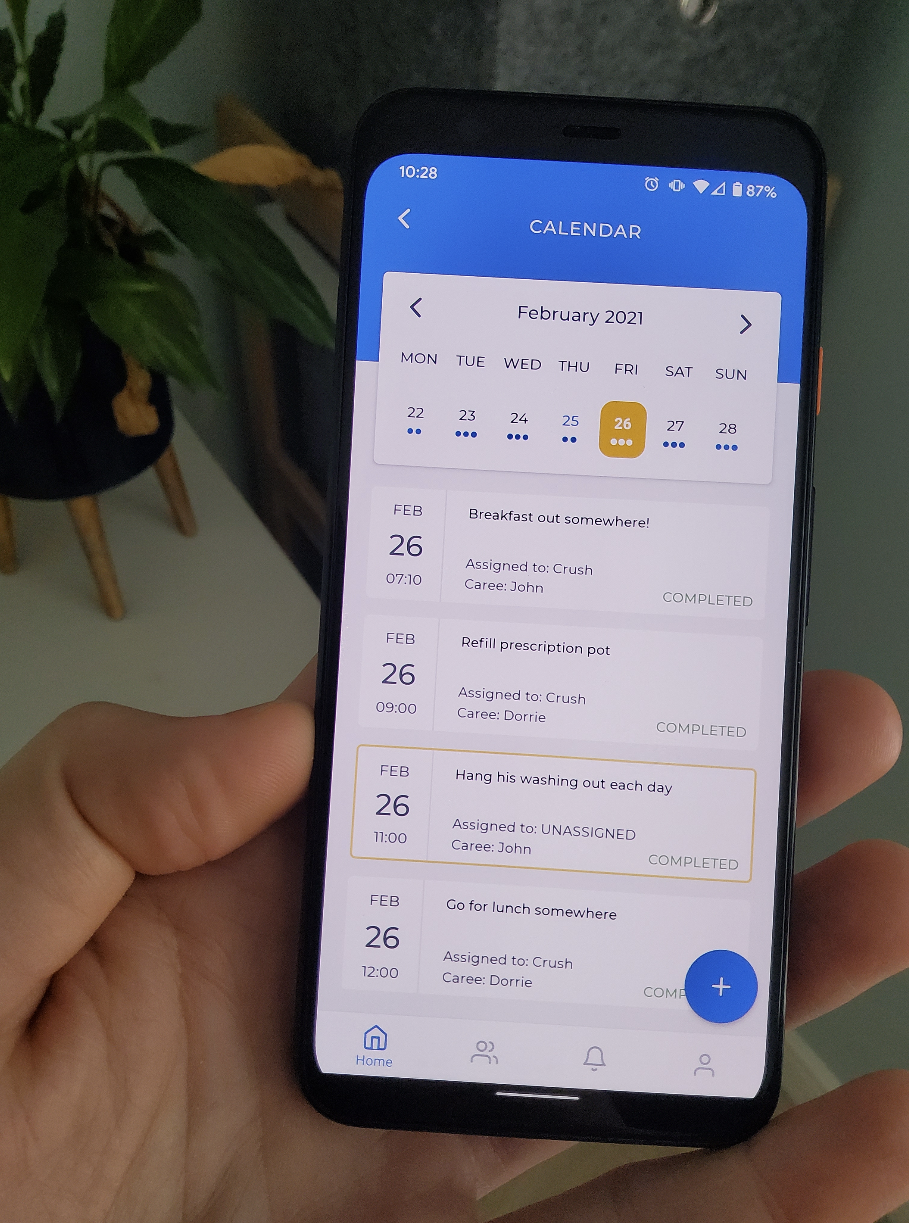 The calendar screen visible on the caremmunity android app