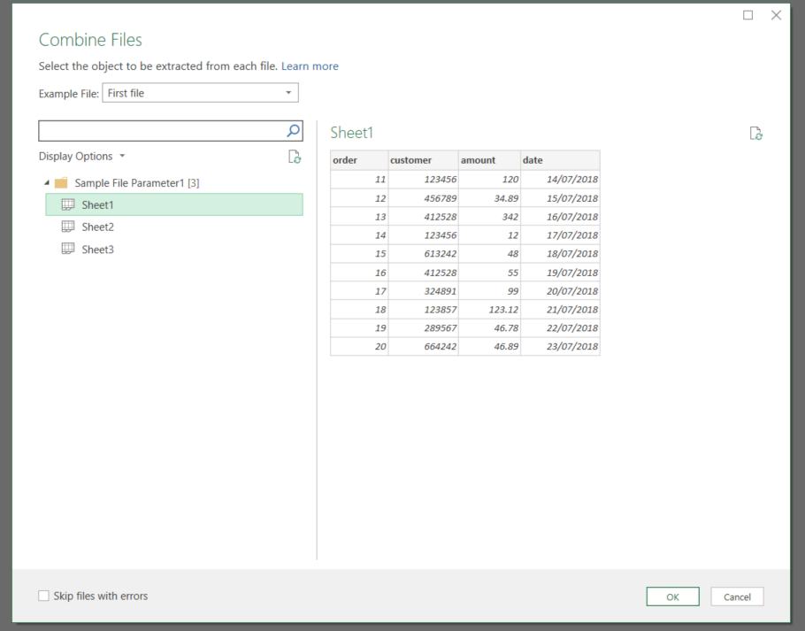 Getting data from the latest file in a folder using Power Query