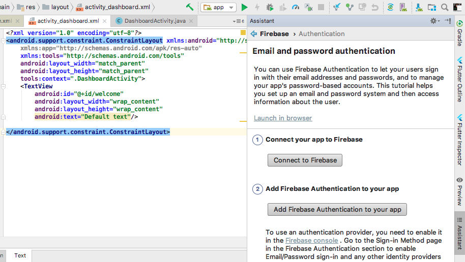 Firebase email and password authentication for Android