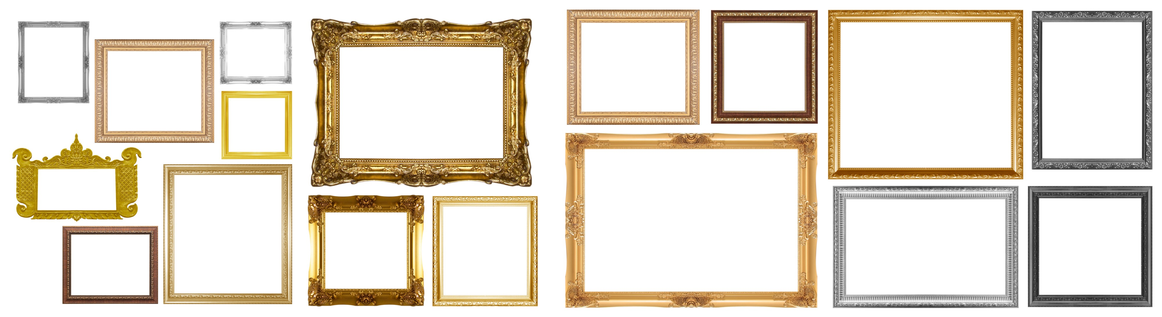 Empty picture frames in various shades of gold, silver, and black