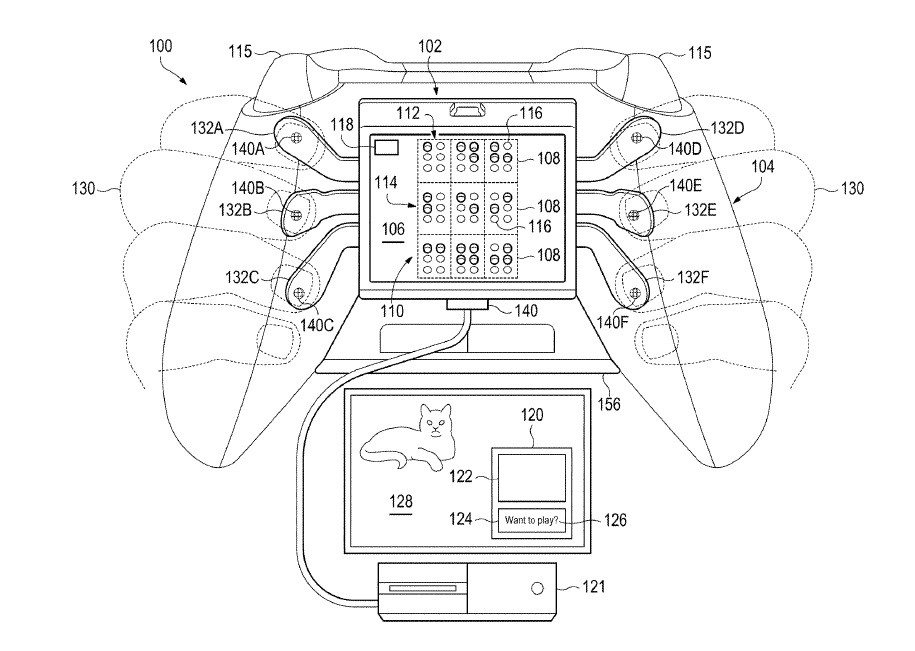 Concept sketches show a controller with Braille cells, paddles for Braille typing, and a message appearing on a console.