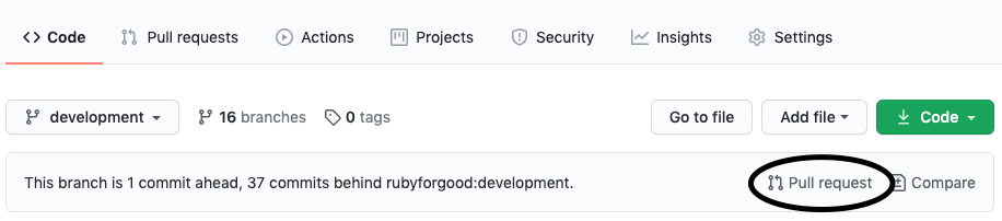 Forked repo page with Pull request circled
