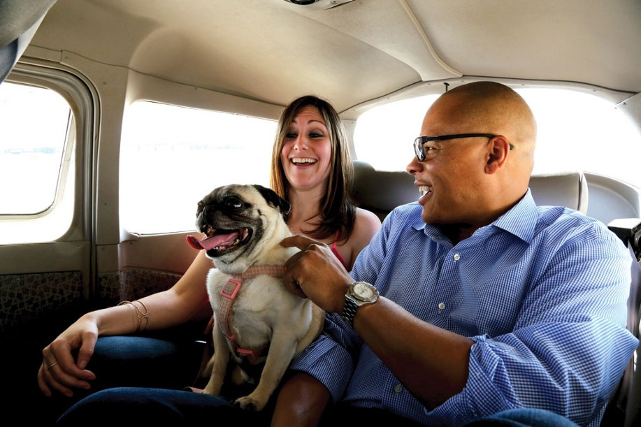 I pug flying with his humans in the backseat of a small airplane.