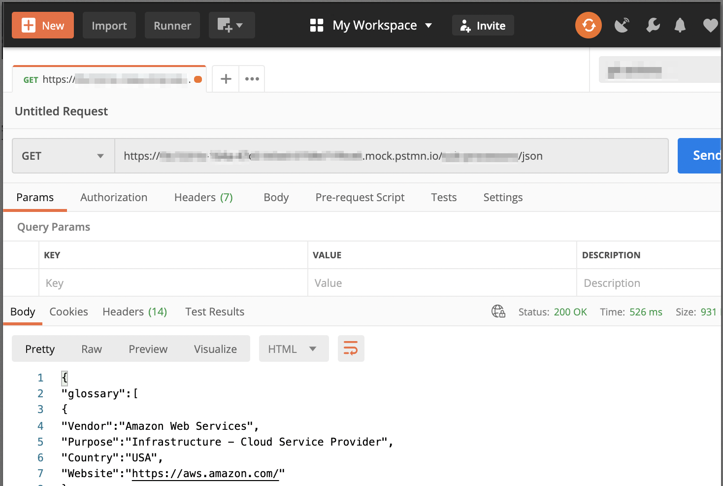 Image of GET Request to API endpoint returning JSON in Postman Client
