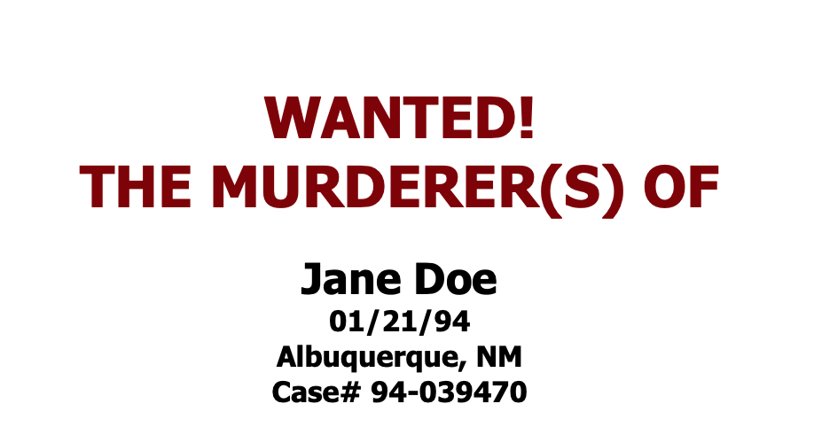 Screen capture which reads: Wanted! The Murderer(s) of Jane Doe