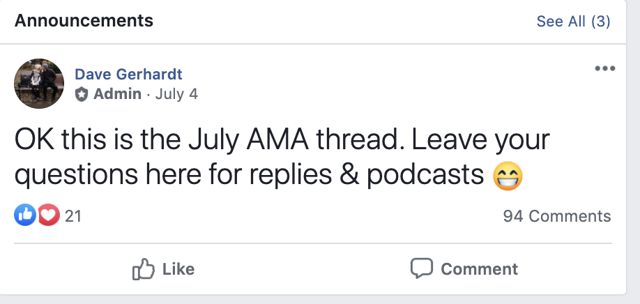Image of a Facebook post request AMA questions.