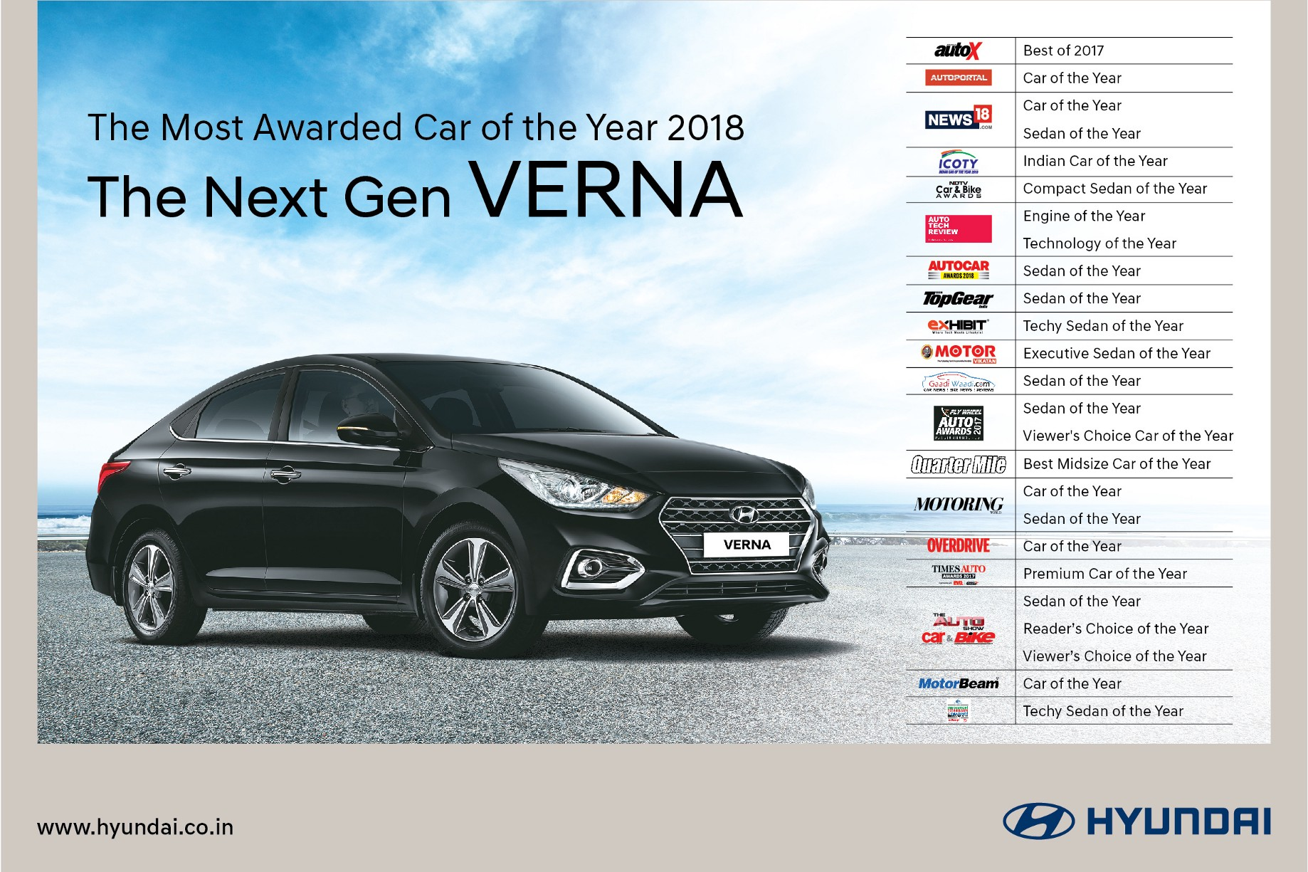 Hyundai Verna Is India S Most Awarded Car Of The Year 2018
